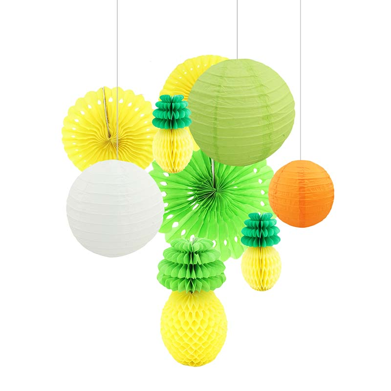 Pineapple Ball Paper Lantern Paper Fan For Hawaii Luau Party Decorations Beach Theme Summer Wedding Party Festival Supplies Tinkerbell Party Supplies