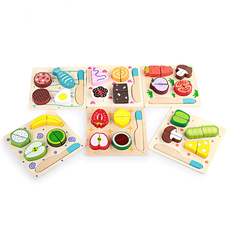 Baby Wooden Pretend Play Toys Classic Food Fruit Cutting Blocks Kitchen Toys For Children Kids Girls Toys Set Best Gifts