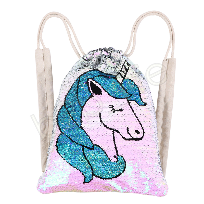 Einhorn Pailletten Kordelzug Taschen Mädchen Frauen Baumwolle Meerjungfrau Rucksäcke Pailletten Make-Up Tasche Reisetasche Kleidung Lagerung Schuhe Taschen GGA1270