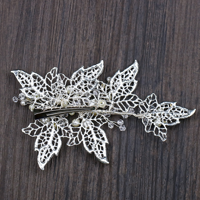 Handmade Silver Barrettes Wedding Hair Accessories Pearl Head Clip Rhinestone Hair Ornament Leaves Crystal Style Hair Decoration (4)