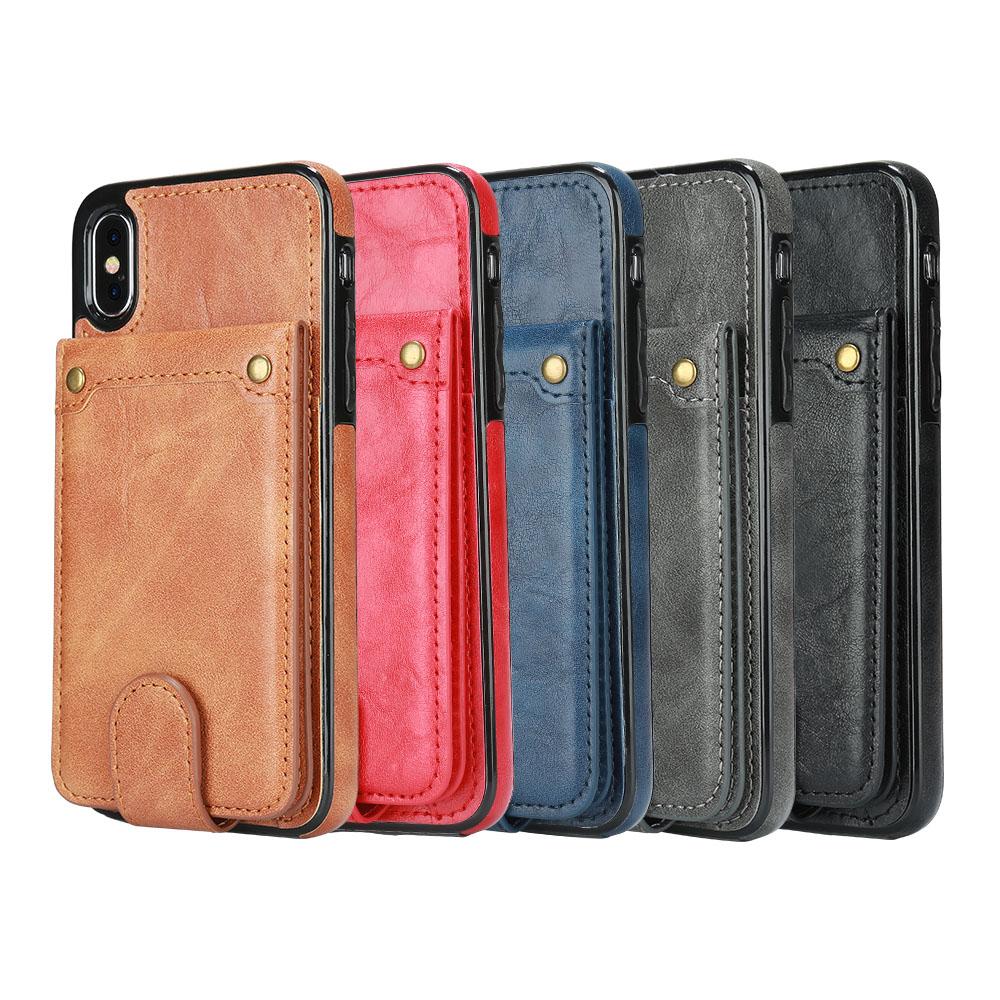 Étui à rabat vertical en cuir pour iPhone 6, 6s, 7, 7 ans et plus, étui de protection arrière pour Samsung S8 S9 Plus, porte-carte portefeuille
