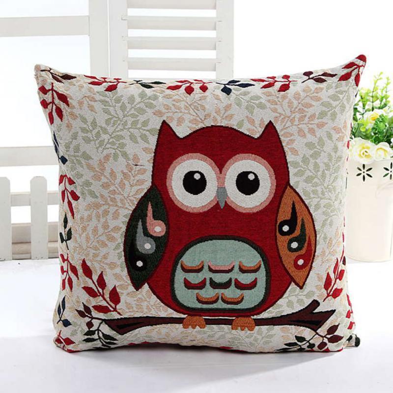 Hot Cute Owl Pattern Algodón Lino Funda de almohada Sofá Throw Cushion Cover Home Decor Square