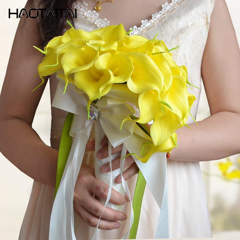 Bouquet Sposa Giallo.Acquista Bouquet Da Sposa Bianco Giglio Di Calla Giallo Goccia D