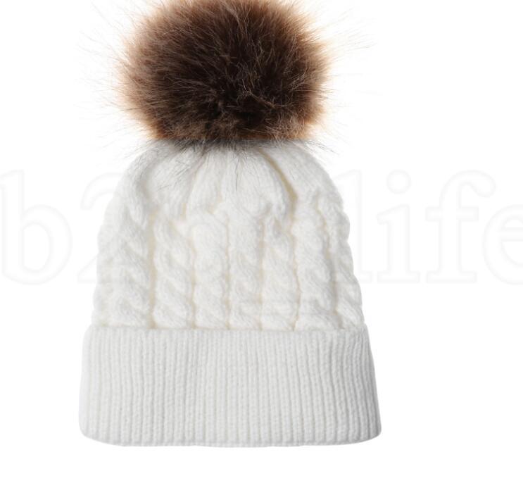 Mom Mother Baby Knit Pom Bobble Hat Kids Girls Boys Winter Warm Beanie Hats Accessories KKA6012