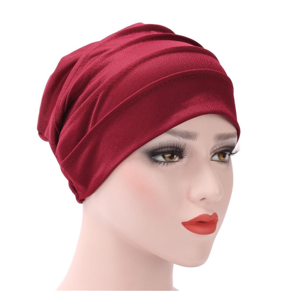 Kadınlar Hindistan Şapka Müslüman Fırfır Kanser Kemo Şapka Bere Eşarp Türban Başkanı Sarın Kap Rahat Pamuk Blend rahat Yumuşak malzeme Y18102210