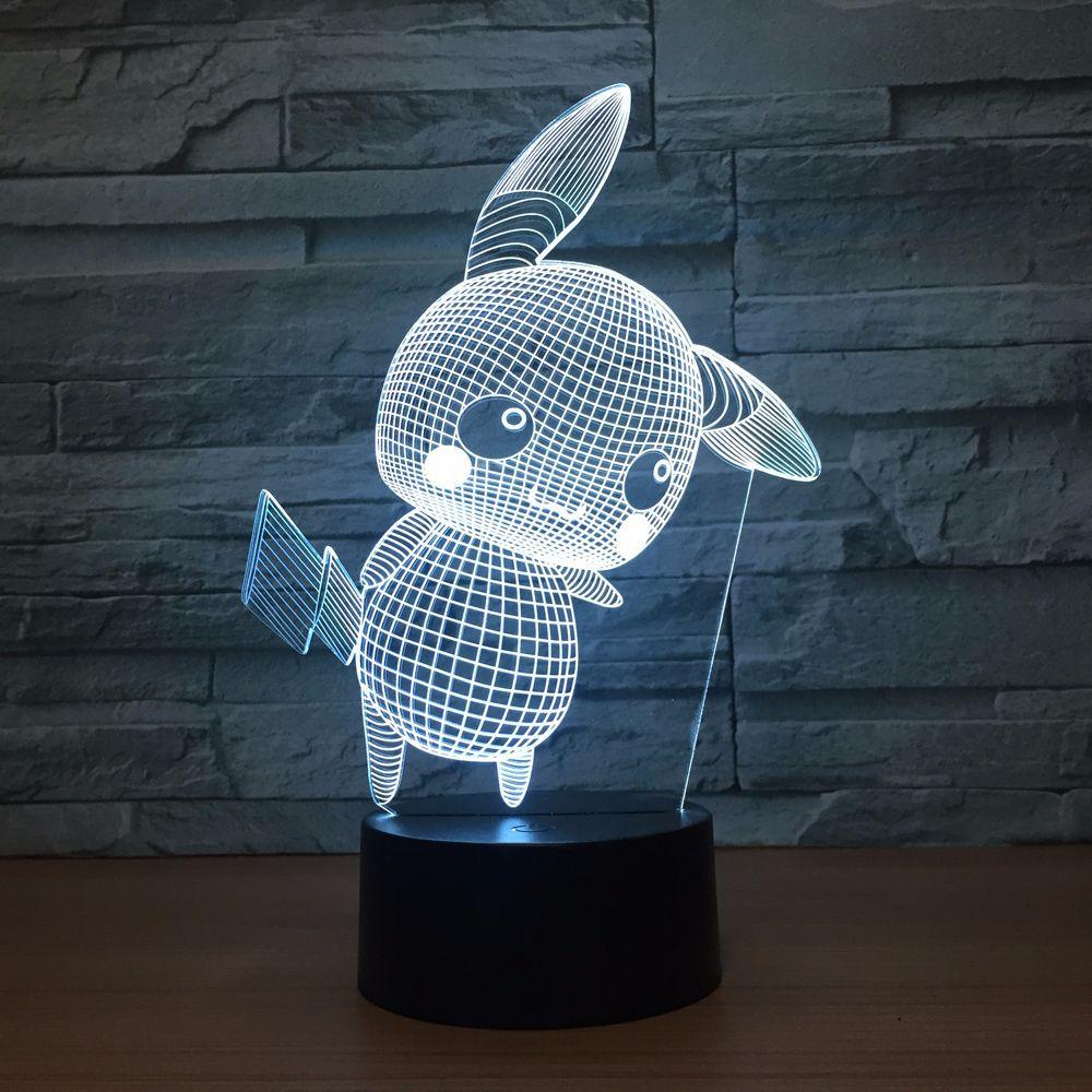 3D Night Light Luminaria Led Carton Pikachu Table Lamp Visual Veilleuse Color Change Bulbing Licht Children Bedroom Wholesale Dropshipping