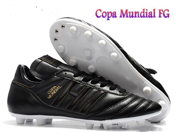 Hombres Copa Mundial de cuero Zapatillas FG Zapatos de fútbol Descuento Fútbol 2015 Copa Mundial de Fútbol Negro Blanco Naranja botines futbol Botas