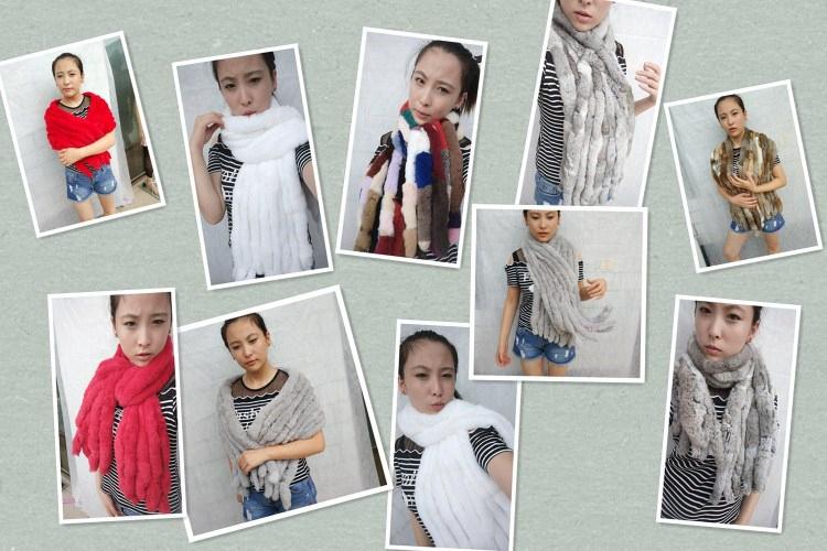 knitted rex rabbit fur scarf for women winter (1)
