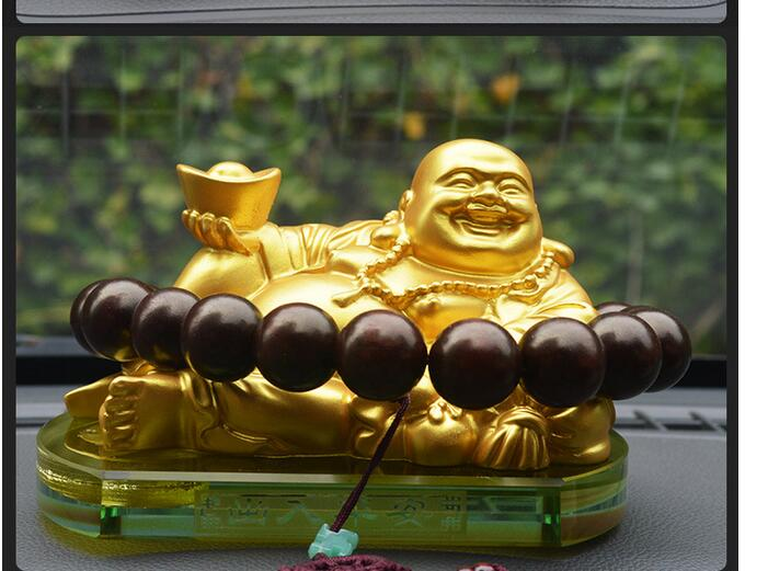 Car perfume seat decoration gold powder Buddha Maitreya perfume seat car accessories gold-plated ornaments a generation