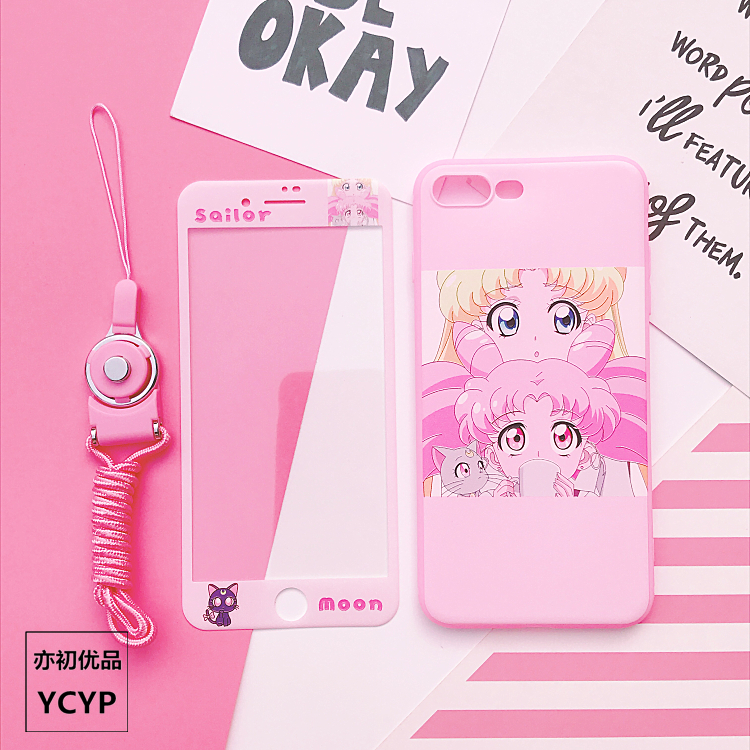 Sailor Moon case for iPhone 8 plus soft silicone cover for iPhone X 7 6 6s plus & tempered glass screen protector +strap+sticker