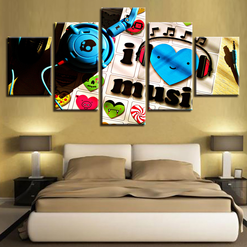Canvas Painting Wall Art HD Printed Music Lover Pictures I Love Music Poster Modular Home Decor For Living Room Framed