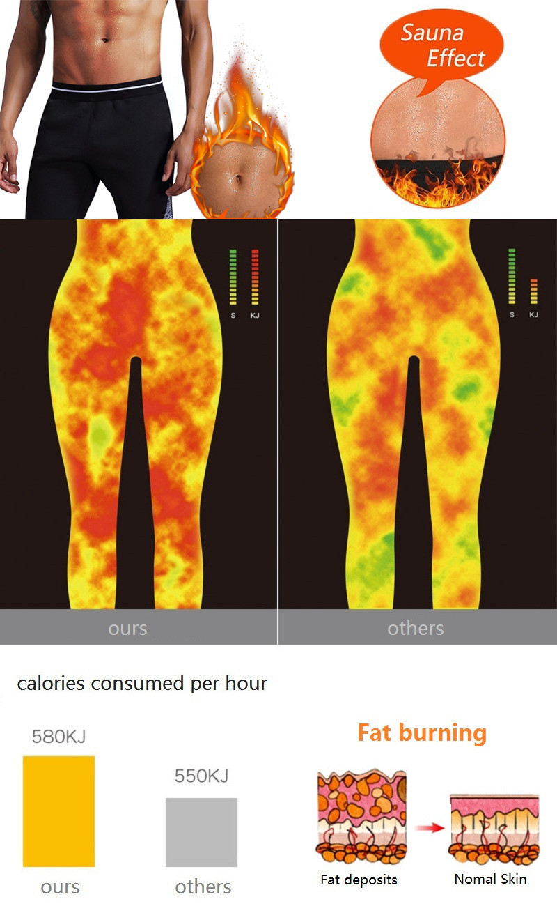NINGMI Men Slimming Pant Short Finess Tights Waist Trainer Body Shaper Hot Sweat Sauna Neoprene Leggings Control Panties Jammers