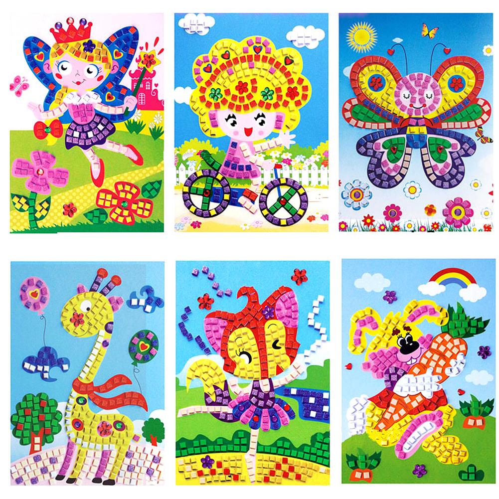 Mix Wholesale 3D Foam Mosaics Sticky Crystal Art Princess Butterflies Sticker Game Craft Kids Children Gift Intelligent Development