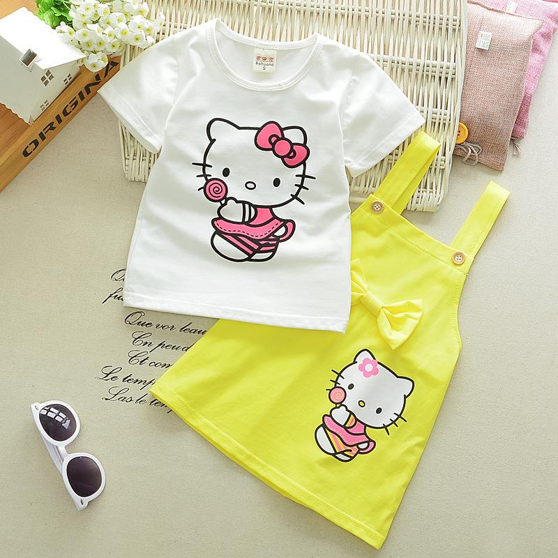 Bebek Çocuk Bebek Kız Kıyafetleri tişört Tops + Etek tulumları Askı Elbise Kıyafetler Seti Elbise