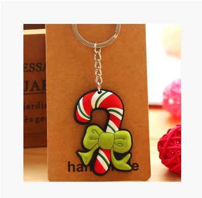 Christmas Santa Cartoon Keychains Silicone Pendant Rings Purse Bag Charms Halloween Keyrings Hot Novelty Key Chains Personalized Gifts