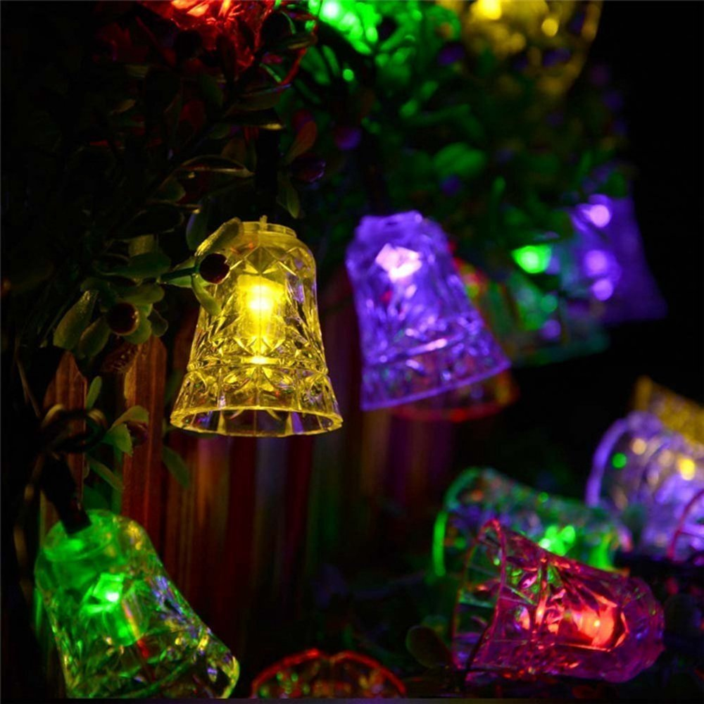 Christmas String Light 20 LED Solar Lamps Waterproof Outdoor Bells Fairy Garden Tree Bell New Year Garden Decoration Wholesale Dropship