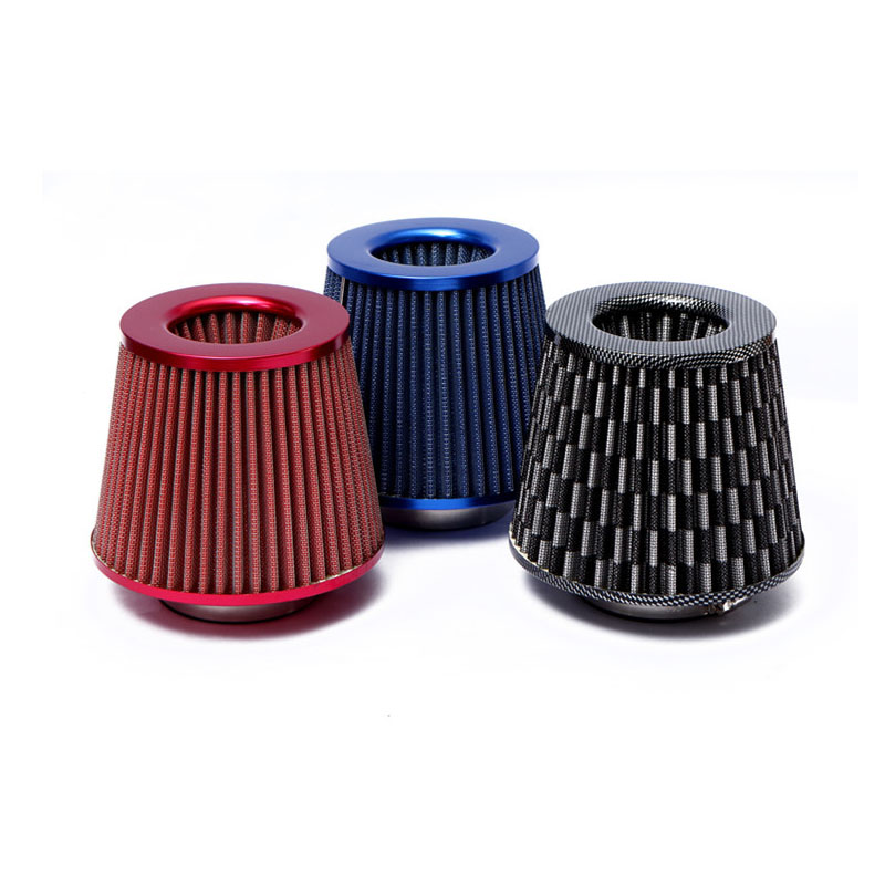 """RED 1998 UNIVERSAL 76mm 3/"""" INCHES CHROME HEATSHIELD AIR INTAKE FILTER"""