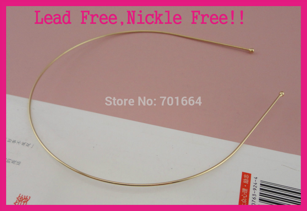 10pcs Golden double 1.2mm metal wire headbands,balls end,nickle free,lead free
