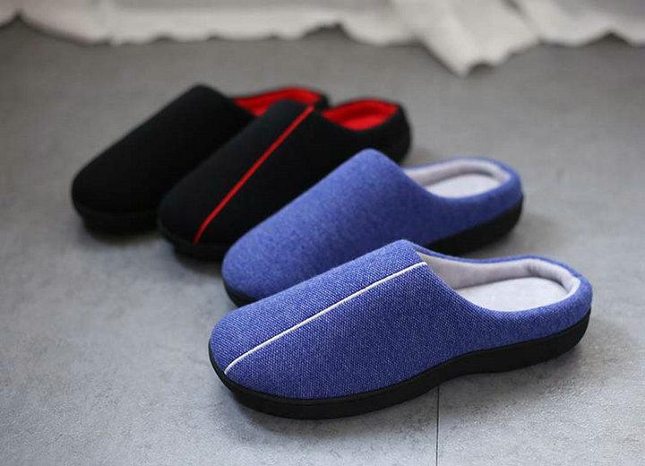 High Quality Velvet With Soft Fleece Outside Comfortable Soft Sole Men Memory Foam Home Slipper Men Shoes (8)