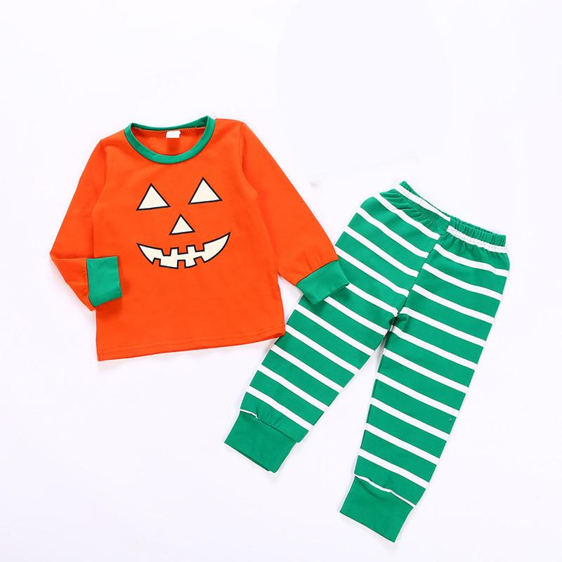 Kids Baby Women Men Pumpkin Suit Long Sleeve T shirt + Pants Outifts Pajamas Infant Rompers Halloween family parent-child Clothing