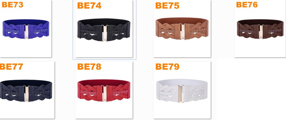 Women Ladies Girls Fashion Wide Braided Polyurethane Leather Black Stretchy Waistband Elastic Waist Belt Factory Wholesale Order More