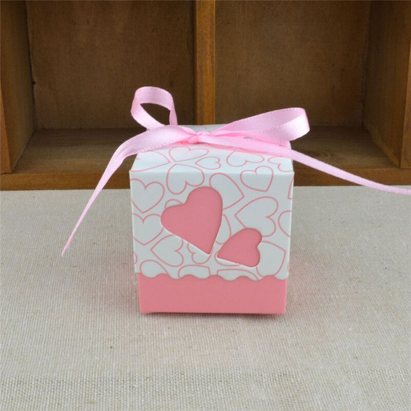 Wedding Birthday Candy Boxes Double Hollow Love Heart Design Laser Cut Wedding Party Favor Gifts Candy Bags With Ribbon Party Sup