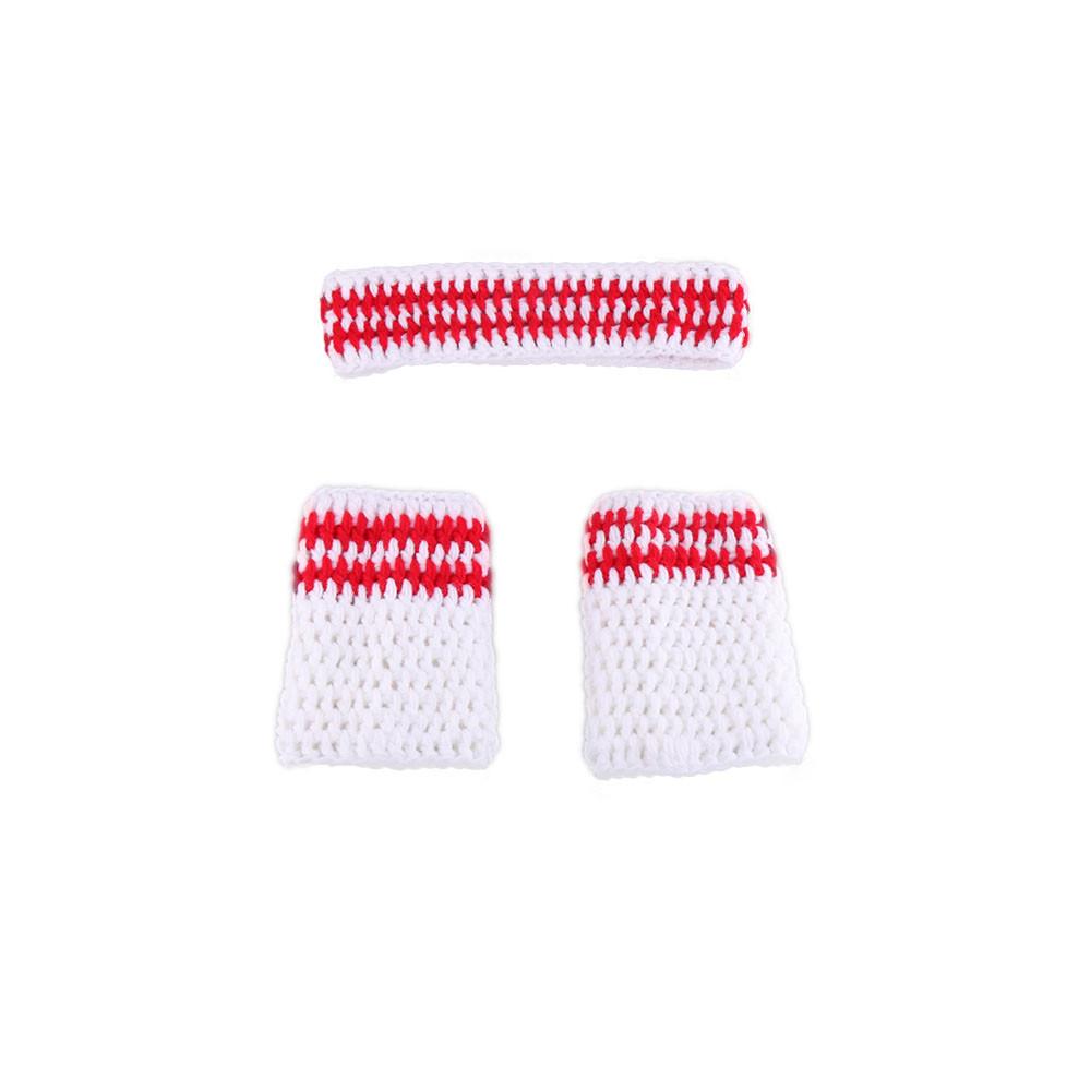 El último equipo de deportes de baloncesto de ganchillo foto Prop Crochet Baby Boy Sweatband Tube calcetín accesorios de fotografía 0-3M