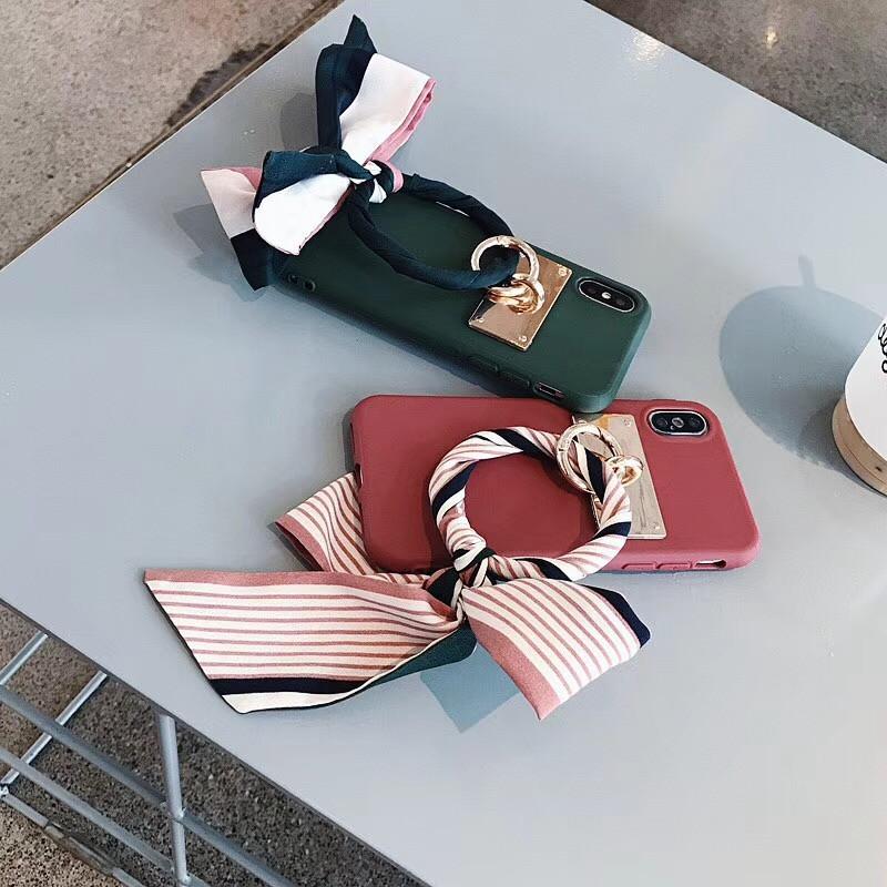 LUDI Luxury Silk Scarf Bow-knot Phone Case for iPhone XS MAX X Phone Cases for iPhone 678 Plus Soft Silicon Retro Fundas Capas06