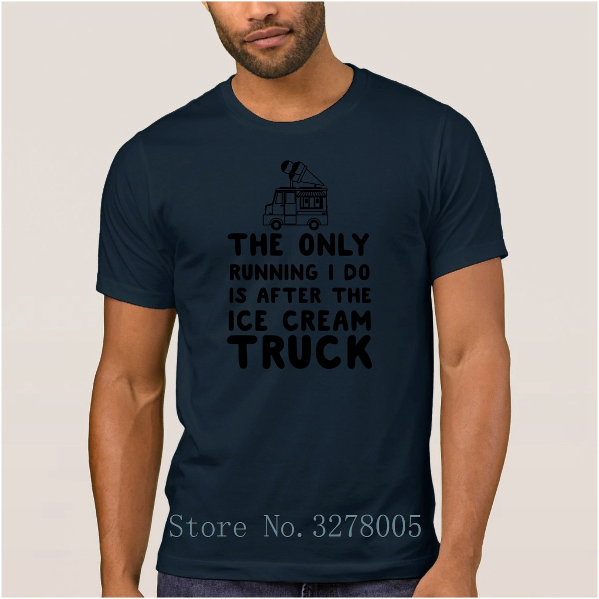 Letter The Only Runnings I Do Is After The Ice Cream Truck T Shirt Men Summer Men's T-Shirt Streetwear Cotton Tee Shirt Man