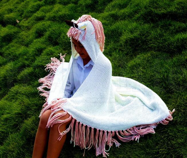 60*70cm Unicorn hat Knitting Tassels Capes Hooded Children Poncho Baby Girls Unicorn cloak Outerwear blankets LJJK1088