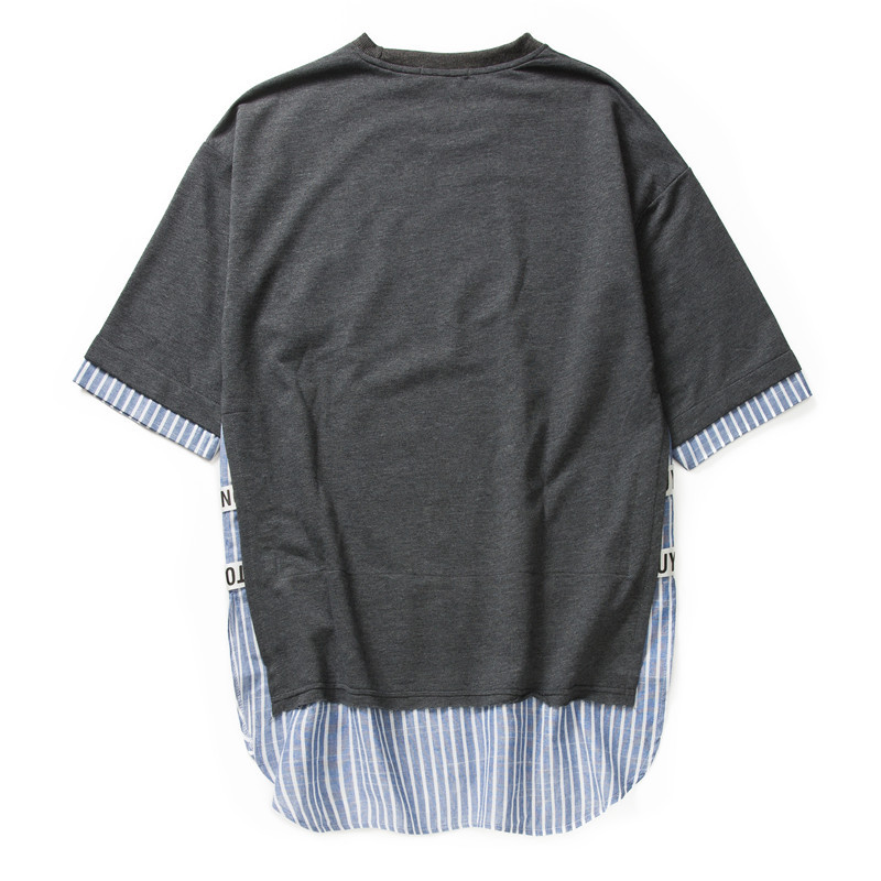 Striped Patchwork Curved Hem Extended T Shirts 19