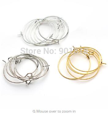 100PCS Gold plate wire Hoop Earwire 40 mm #22657