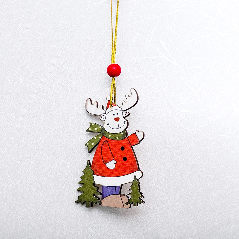 Brand New 5 Style Cute Wooden Elk Santa Pendant Christmas Tree Ornaments Hanging with Jingle Bells Christmas Decoration Supplies New Years