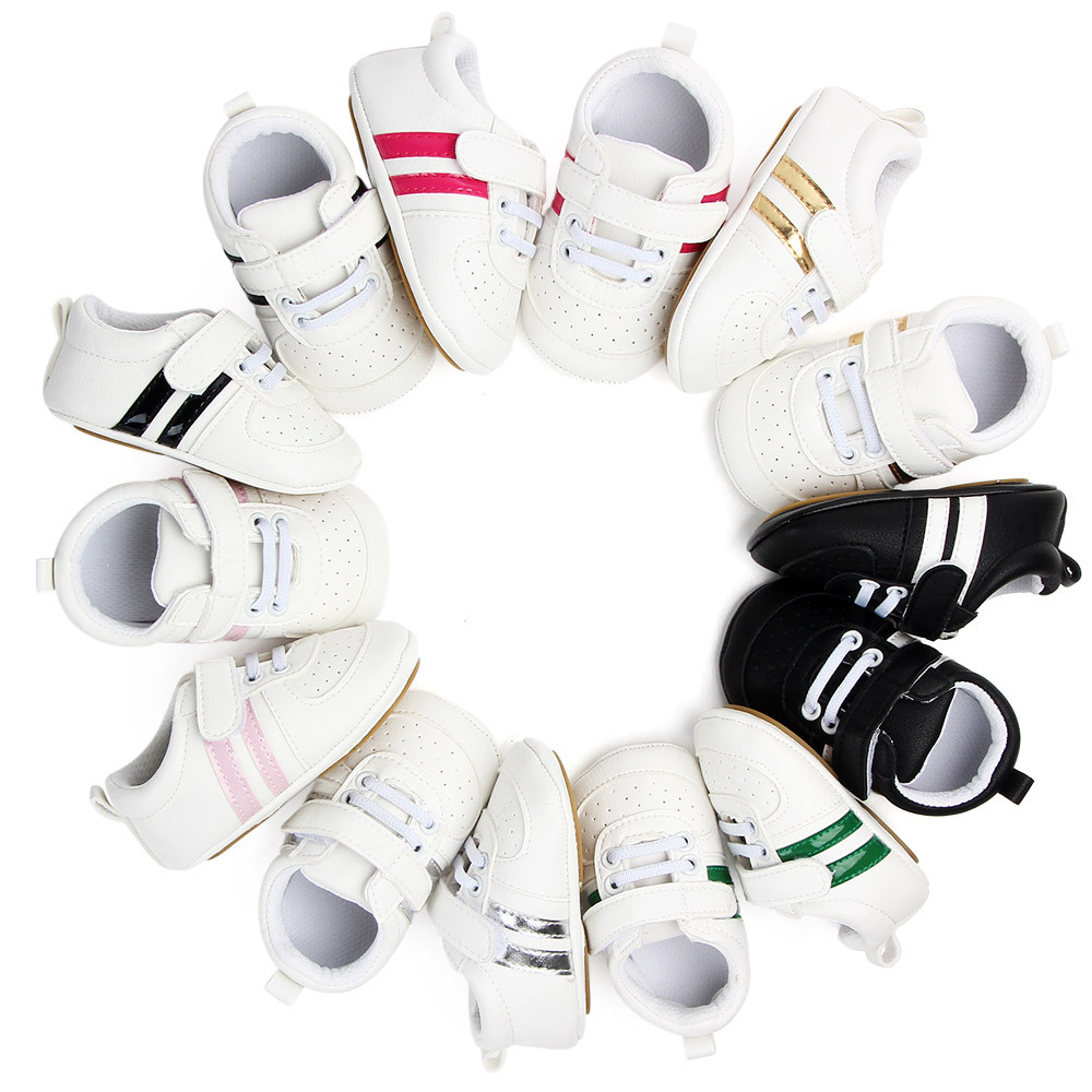 White Leather baby shoes Kids Children Boy Girl Sneakers Baby Infant Bebe Soft Soled Booties First Walkers Crib Boots