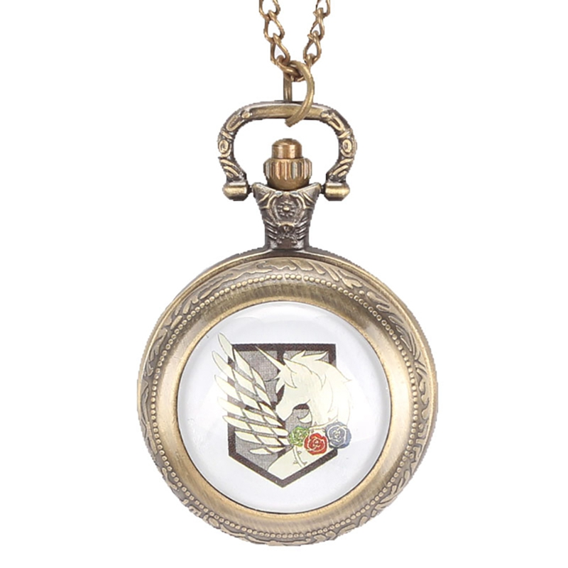 Luxury Bronze Quartz Pocket Watch Attack on Titan Three Corps Flag Necklace Pendant Pocket Watch for Men Women