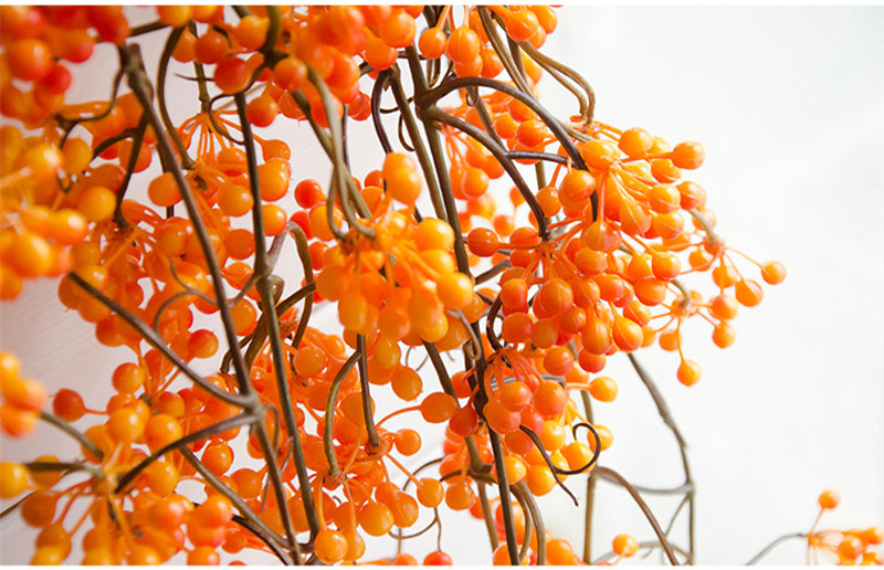 Flone Artificial Flower Branch Fake Red Bean Fruit Vine Simulation Plant Flowers Rattan Wedding Home Party Decoration Floral (4)