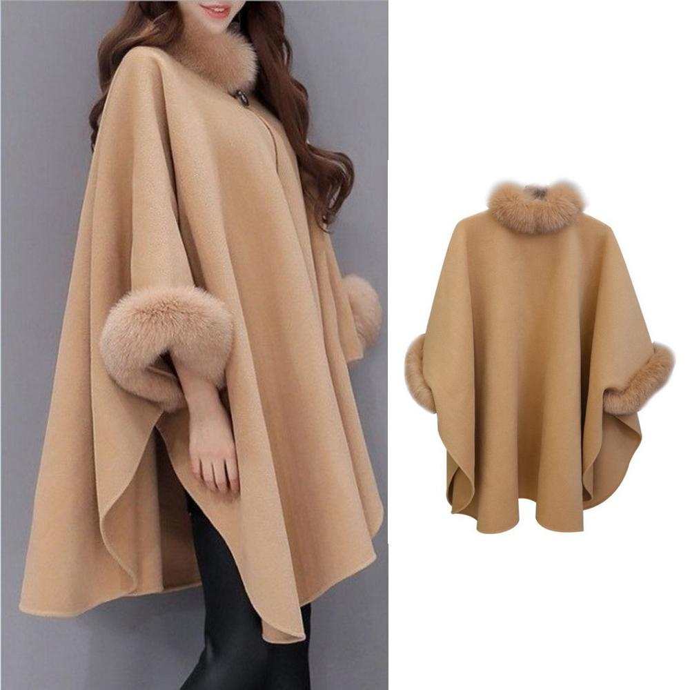 Turtleneck Korean Winter Woolen Coat Cloak Loose Fox Fur Collar Long Wool Camel Luxury Shawl Coat Female Warm Button Plus Size