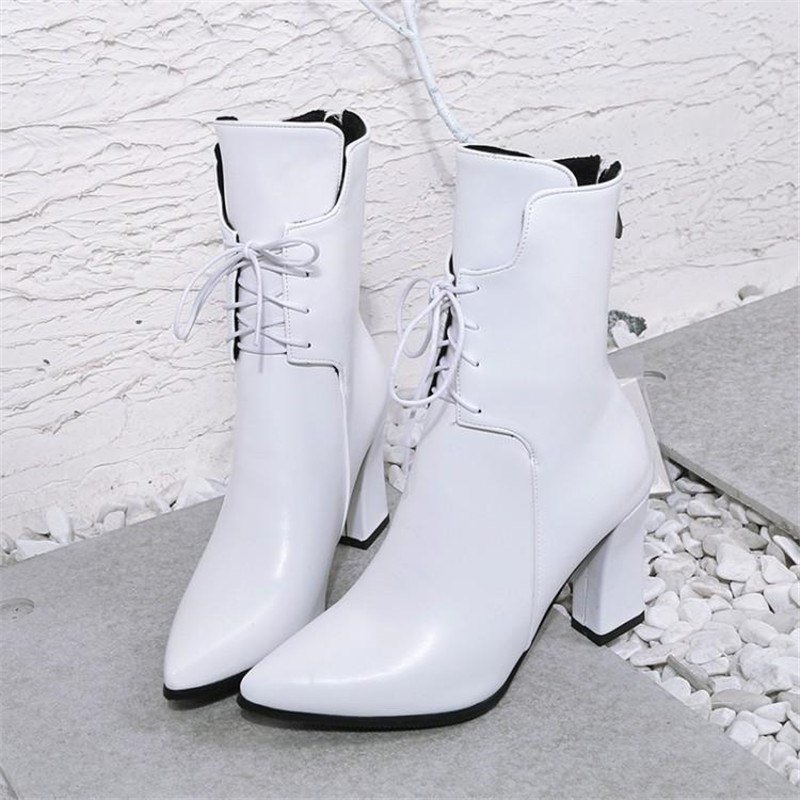 Brand Designers 2018 New Winter Women Shoes Black High Heels Riding Boots Lacing Platform Ankle Boots Chunky Heel Big Size 32-43 (12)