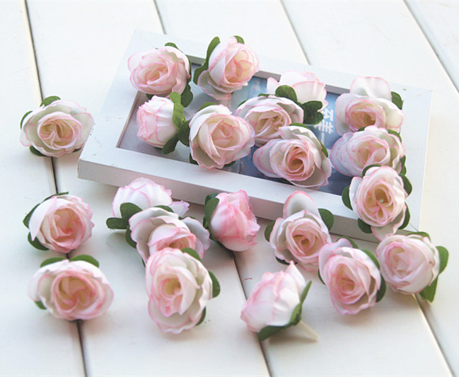Artificial Rose Buds Silk Flower Heads For Wedding Party Bridal Bouquet Home Decoration 3cm Multi colors