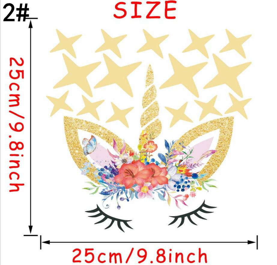 3styles Diy Unicorn Cartoon Star Wall Sticker Stars Flower Kids ...