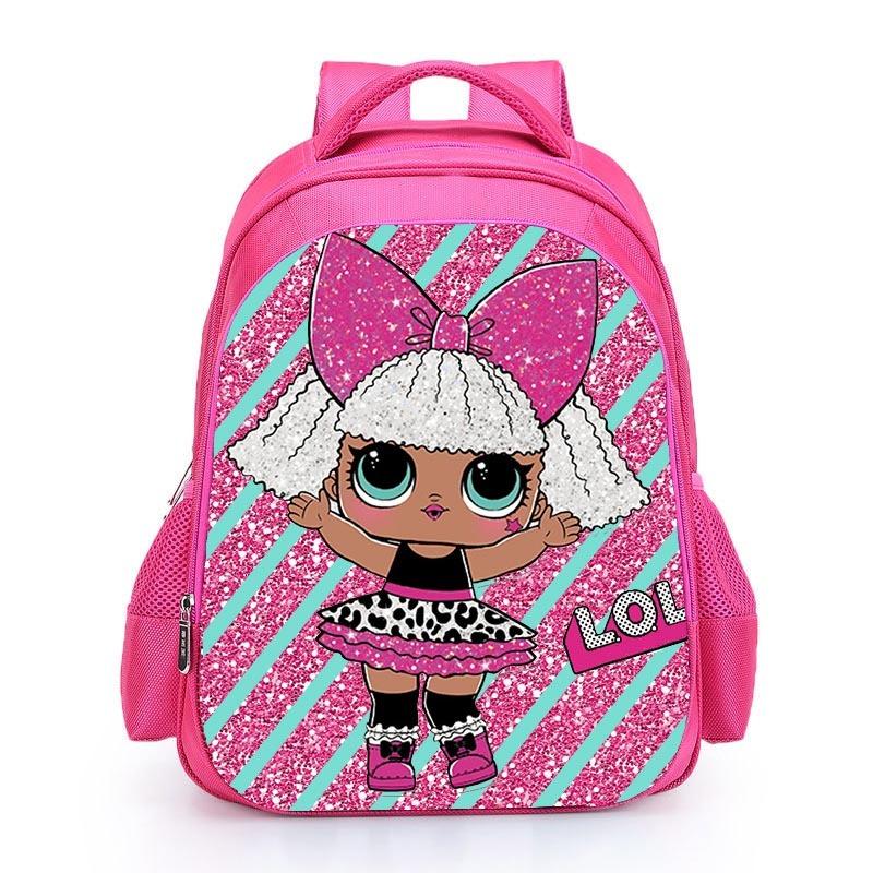 Kids Pink Backpack LOL School Bag for Girls Cute Custom Name Printed Schoolbag personalized Book Knapsack mochila