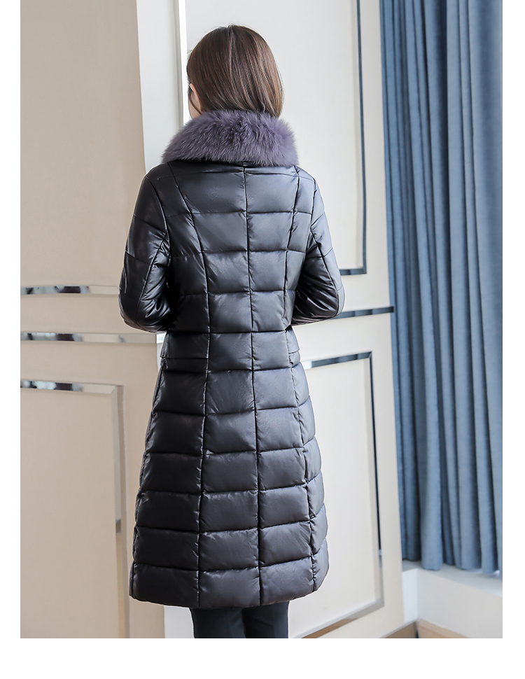 8300 Plus Size Faux Fur Collar Leather Jackets Women Slim Long Warm Down Fur Coat Elegant Top Quality Manteau Femme Hiver 5xl 2018 12