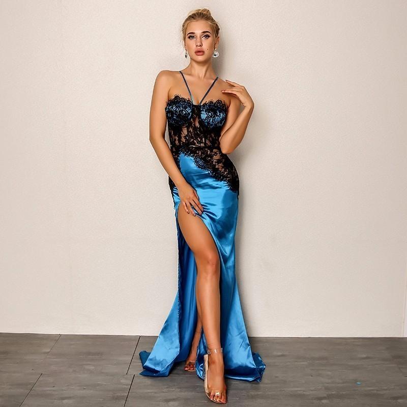 68b3c8e65 Compre Joyfunear 2018 Nuevas Mujeres Sexy Vestido De Fiesta De Verano  Bodycon Side Split Maxi Dress Floral Embroid Elegantes Vestidos Largos  Vestido ...