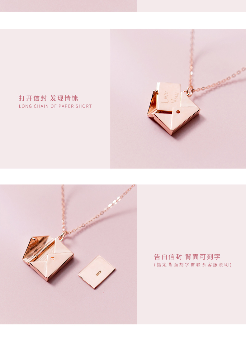 ABC Silver S925 Simple Square Envelope Pendant Temperament Chain Harajuku Kolye Collier Costume Jewelry Necklace Women's