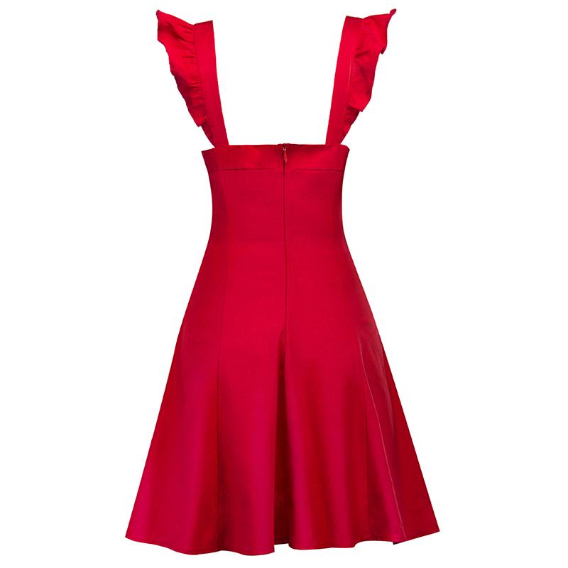 Kostlich Sexy Ball Gown Evening Party Dresses Sundress Elegant Women Summer Dress Sleeveless Swing 1950s Vintage Ruffles Dress (4)