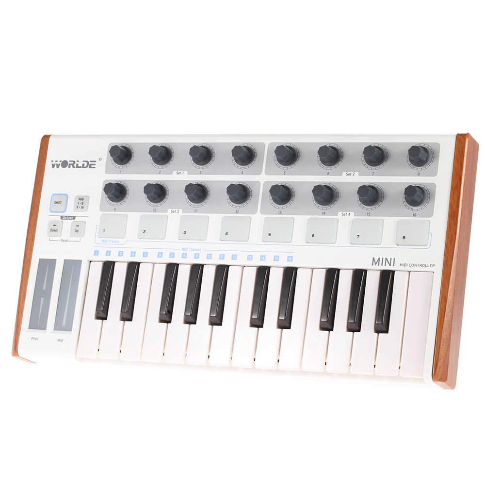 wholesale Ultra-Portable Mini Professional 25-Key USB MIDI Drum Pad and Keyboard Controller