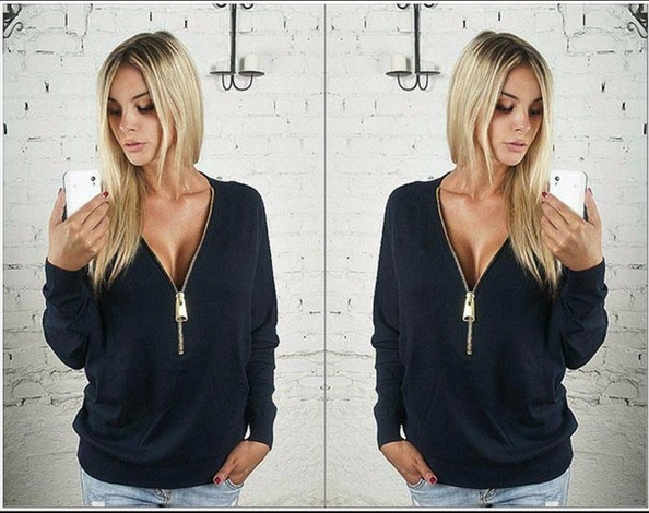 Women Sexy Fashion Batwing Sleeve Blouse Deep V Collar Zipper Sweater Long Sleeved T-shirt Plus Size S-5XL (5)