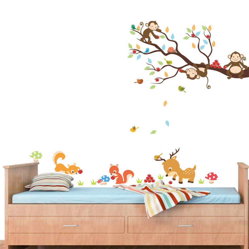 Wholesale Cartoon Forest Tree Animal Monkey Deer Squirrel Wall Stickers for Kids Rooms Children Bedroom Wall Decal Home Decor Mural
