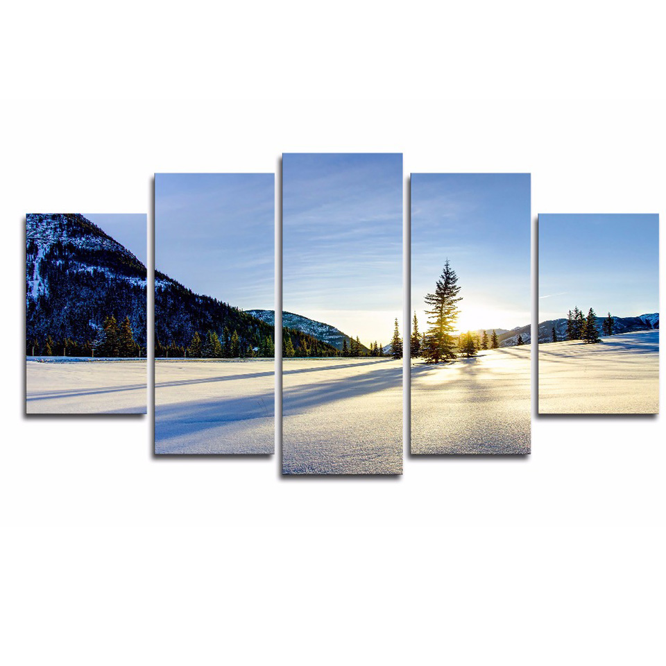 Modular Picture Large Canvas Framework 5 Panel Sunny Snow Printed Painting For Bedroom Living Room Home Wall Artwork Decoration