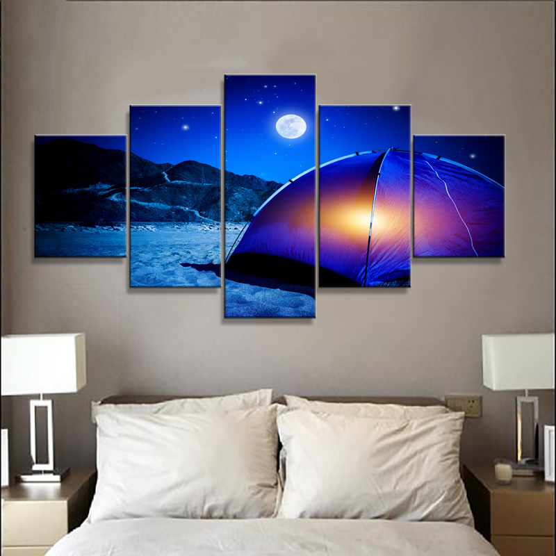Wall Art Posters Prints Frame Fashion 5 Panel Camping Landscape Canvas Painting Wall Pictures For Living Room Home Decoration